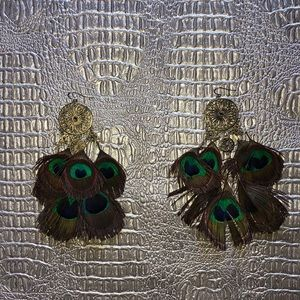 Jewelry - Peacock Dangle Earrings.  Unique!